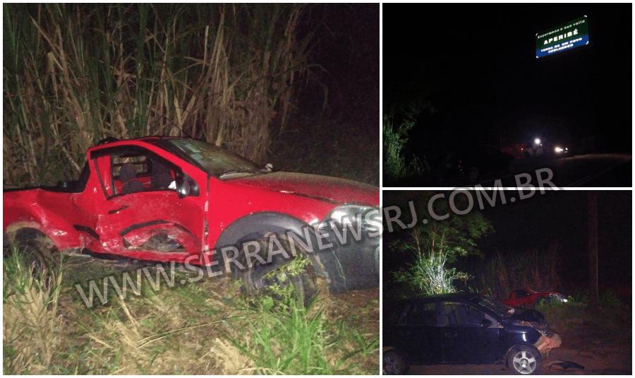 Colisão envolvendo dois veículos deixa vários feridos na RJ-116, em Aperibé