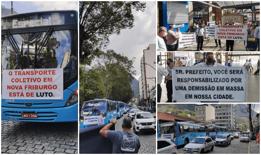 Crise no transporte: rodoviários de Friburgo fazem protesto e iniciam greve