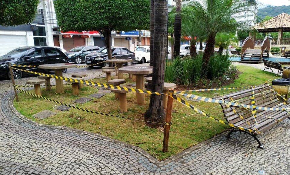 Praça de Cordeiro interditada devido a prevenção ao novo coronavírus - covid-19