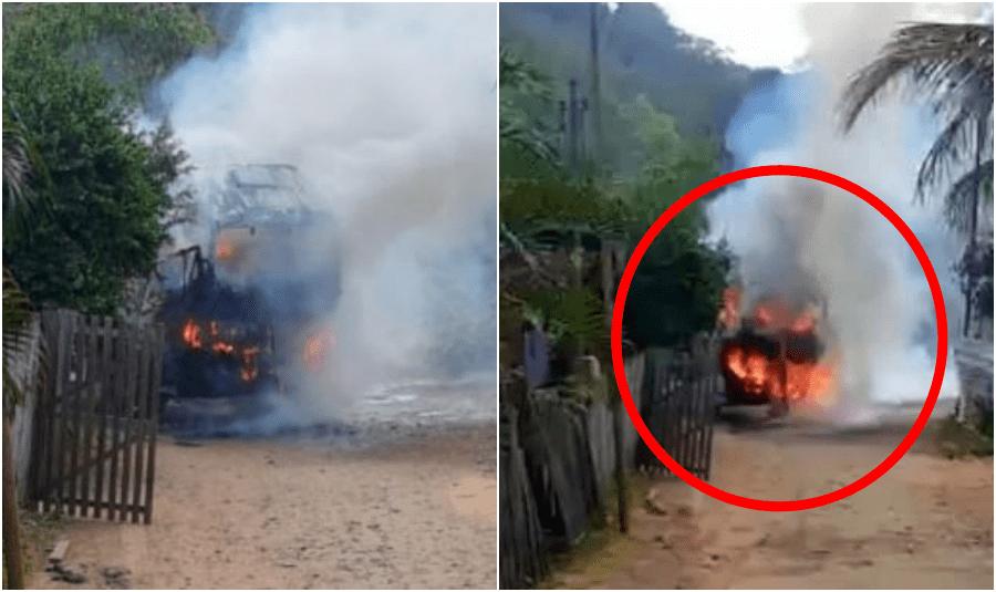 Caminhão de coleta de lixo pega fogo em Santo Antônio de Pádua