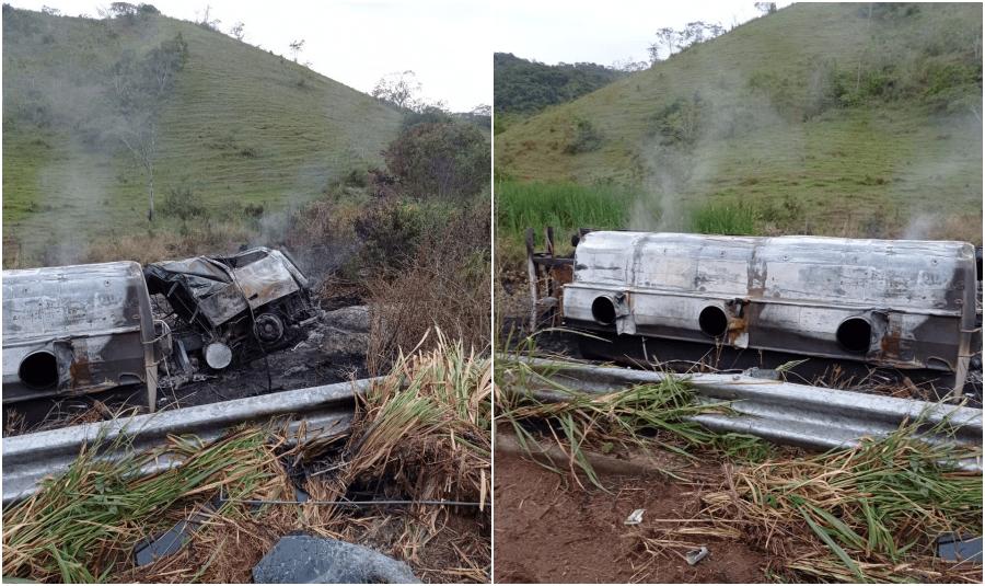 Carreta que transportava combustível tomba e pega fogo na RJ-116, em Itaocara