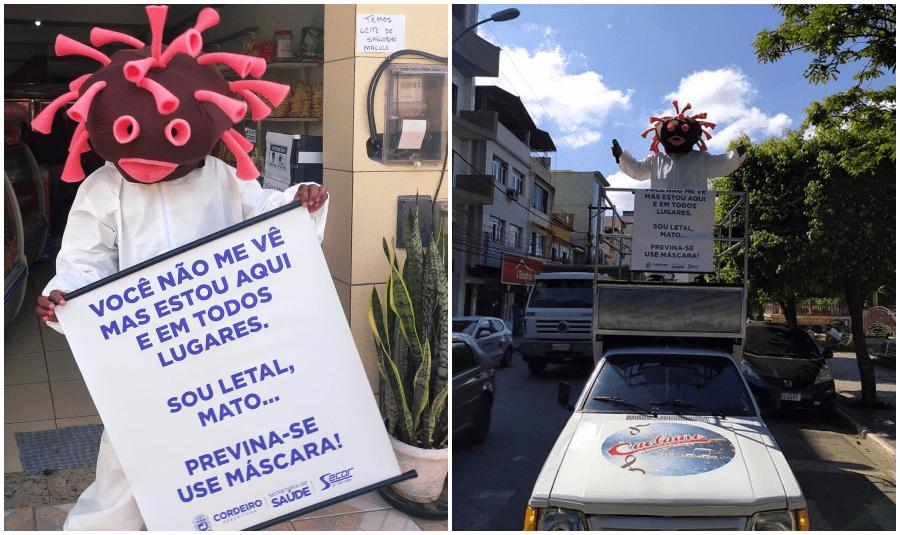 """""""Coronaman"""" promove conscientização pelas ruas de Cordeiro"""