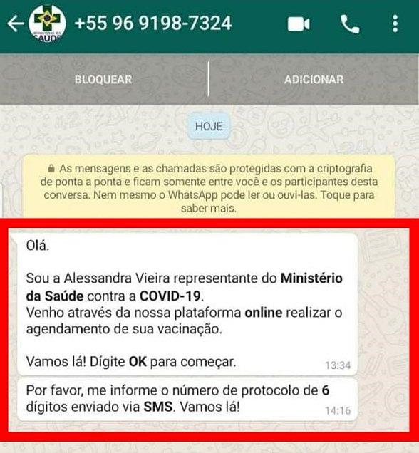 Criminosos estão se passando por membros do Ministério Público, do Ministério da Saúde ou por outros funcionários públicos para aplicar o golpe do covid através do agendamento da vacina contra o coronavírus pelo WhatsApp