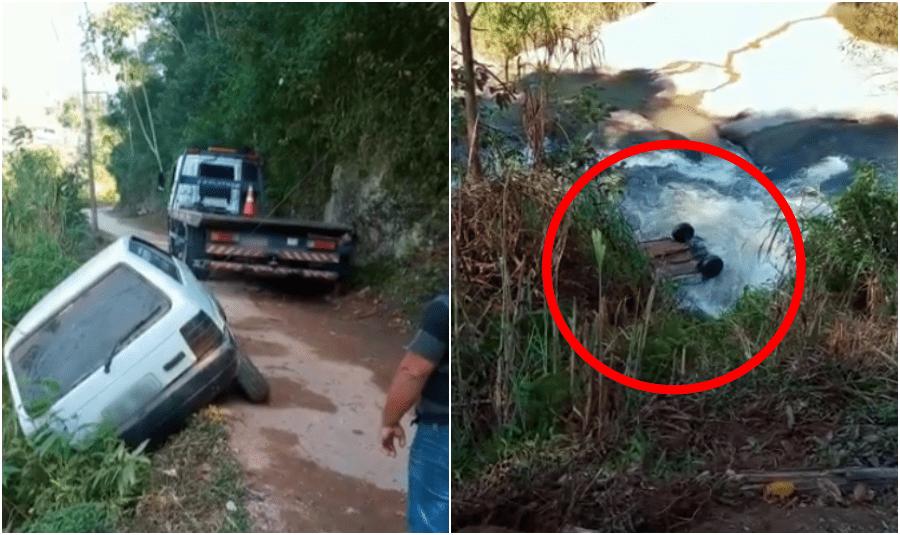 Carro despenca no rio após guincho tentar puxá-lo em distrito de Nova Friburgo