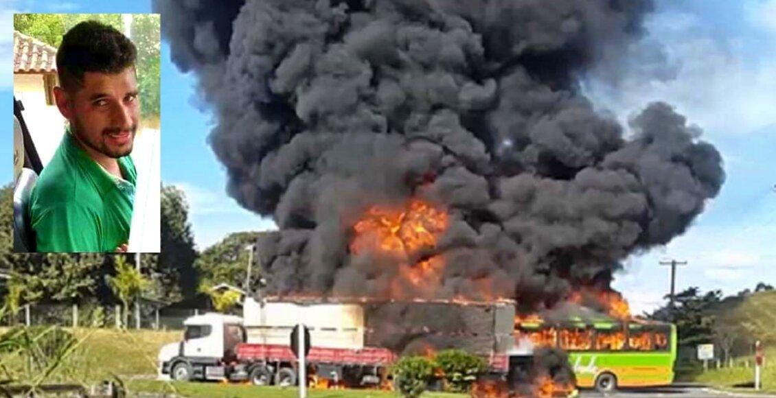 Morre motorista do ônibus que incendiou ao bater em carreta em Bom Jesus do Itabapoana
