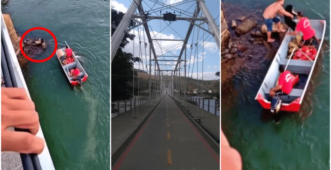 Bombeiros resgatam cachorro que caiu da Ponte Metálica em São Fidélis