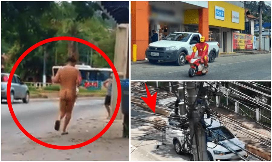 Coisas de Friburgo: Homem corre pelado, caixão cai na rua e super-herói de moto