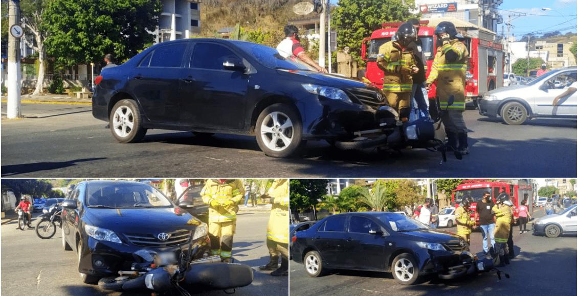Colisão entre carro e moto deixa um ferido entre Itaocara e Aperibé