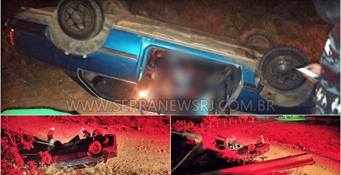 Capotamento de carro deixa um ferido na RJ-116 em Aperibé