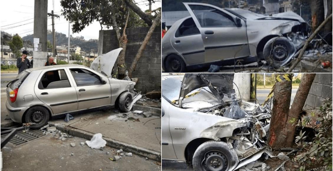 Acidente deixa cinco feridos em Nova Friburgo; carro bateu em árvore e muro