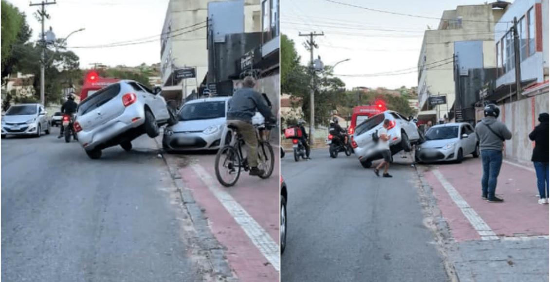 Motorista perde controle do veículo e sobe em cima de carro em Teresópolis