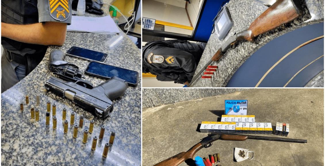 Homens autuados por porte ilegal de arma em Madalena, Cordeiro e Friburgo