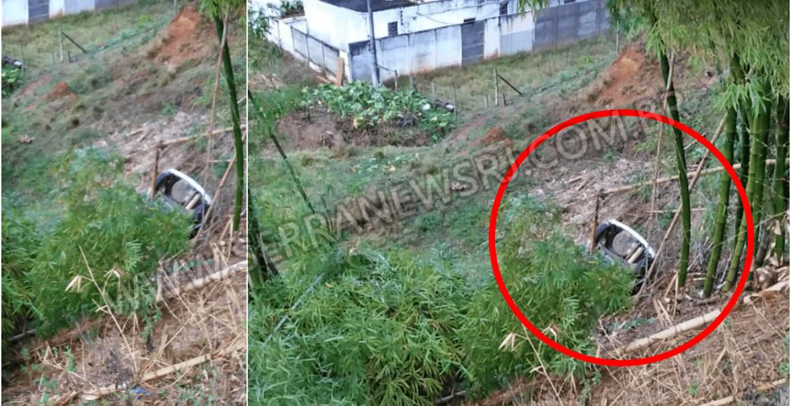Motorista perde controle de carro na RJ-116 e desce barranco em Cordeiro