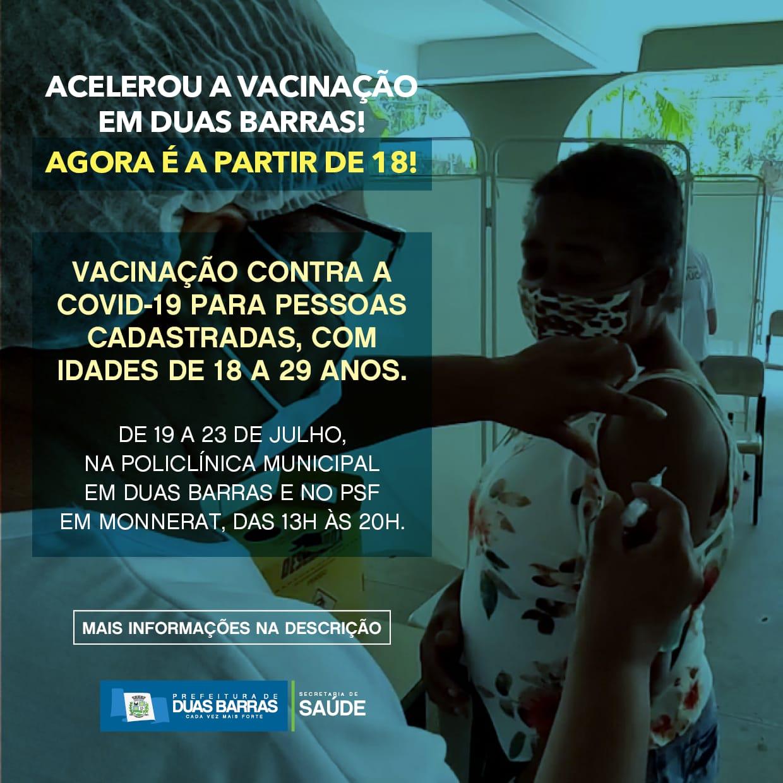 Covid-19: Duas Barras libera vacinação para jovens a partir de 18 anos