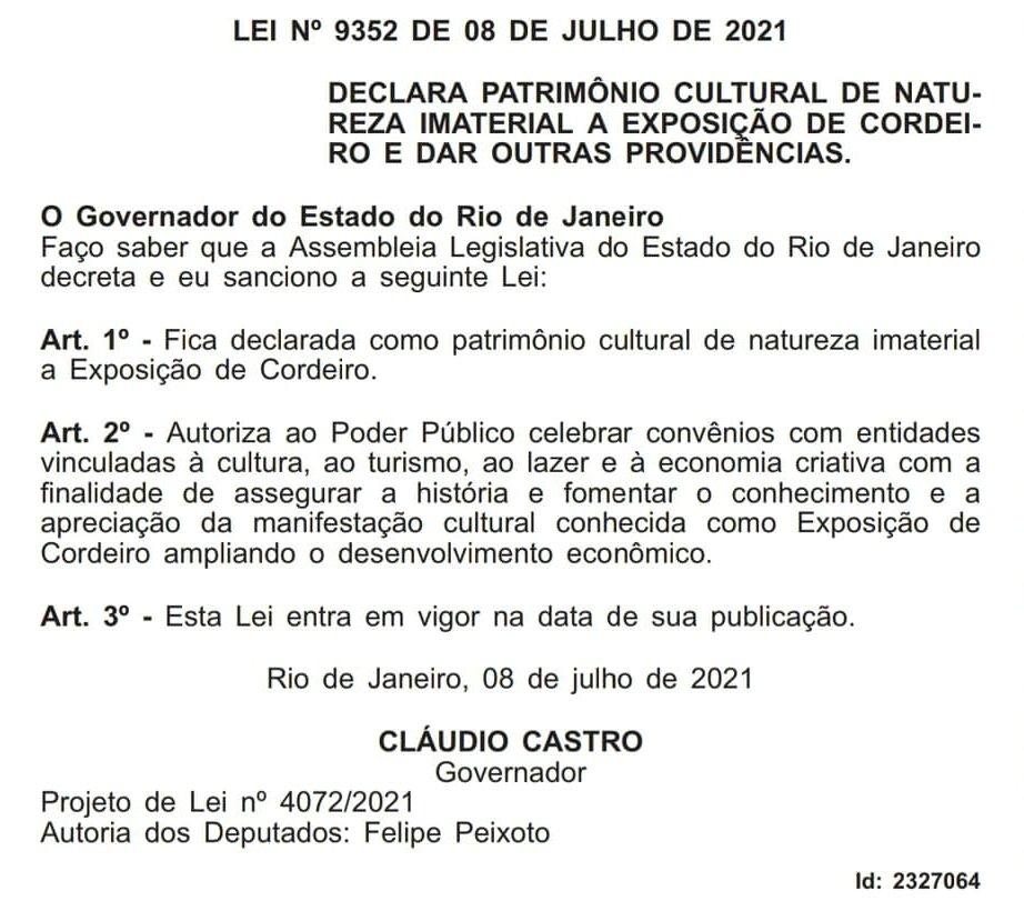 Exposição de Cordeiro é declarada Patrimônio Cultural Imaterial do Estado