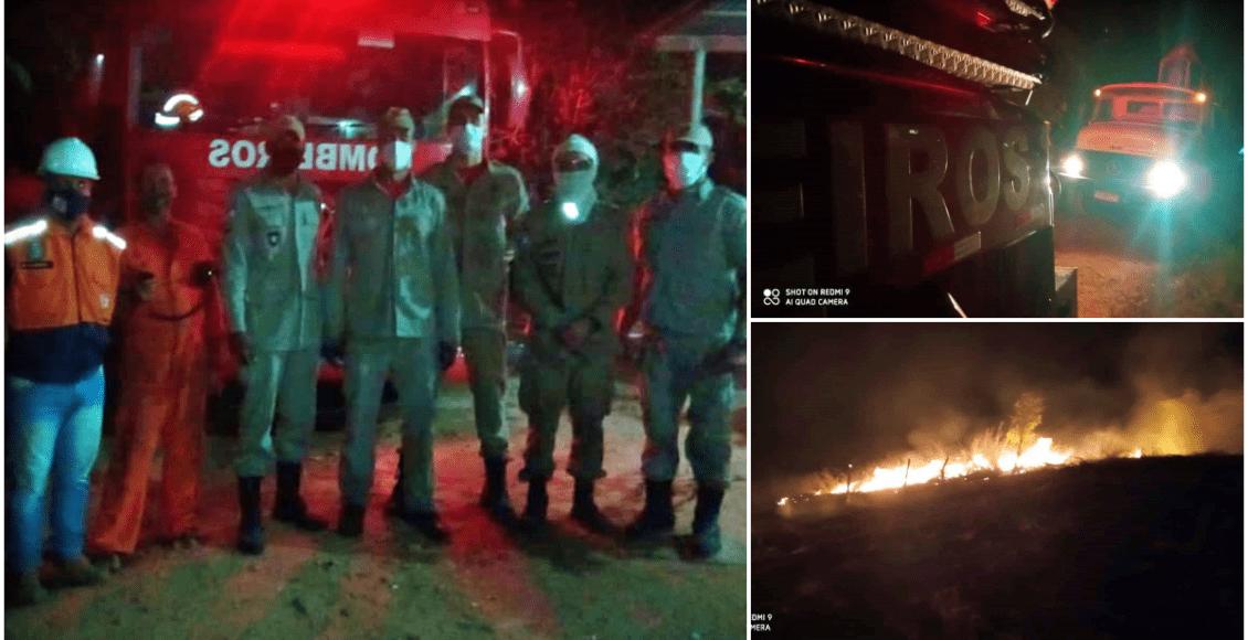 Bombeiros e Defesa Civil controlam incêndio em vegetação em São Fidélis