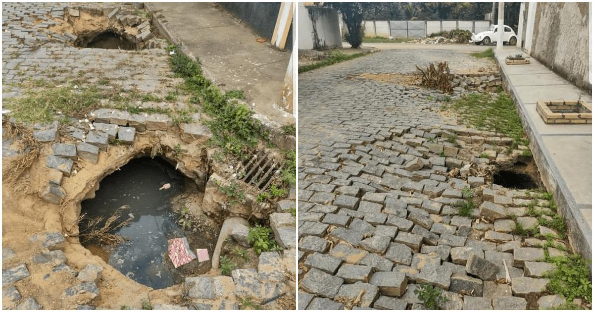 Carro afunda em buraco no Nova Divineia; ruas de São Fidélis oferecem riscos