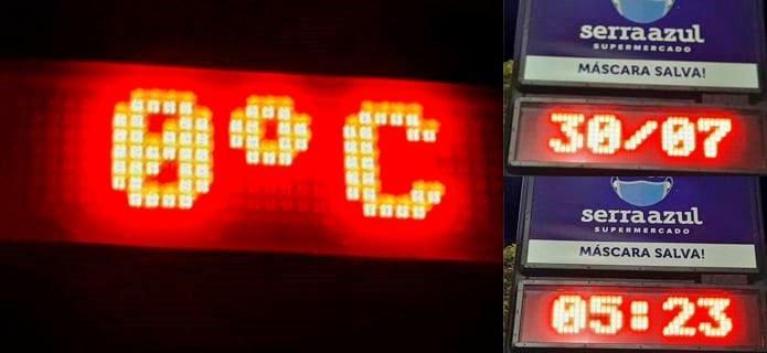 Frio, muito frio! Termômetro marca 0°C em Nova Friburgo nesta sexta