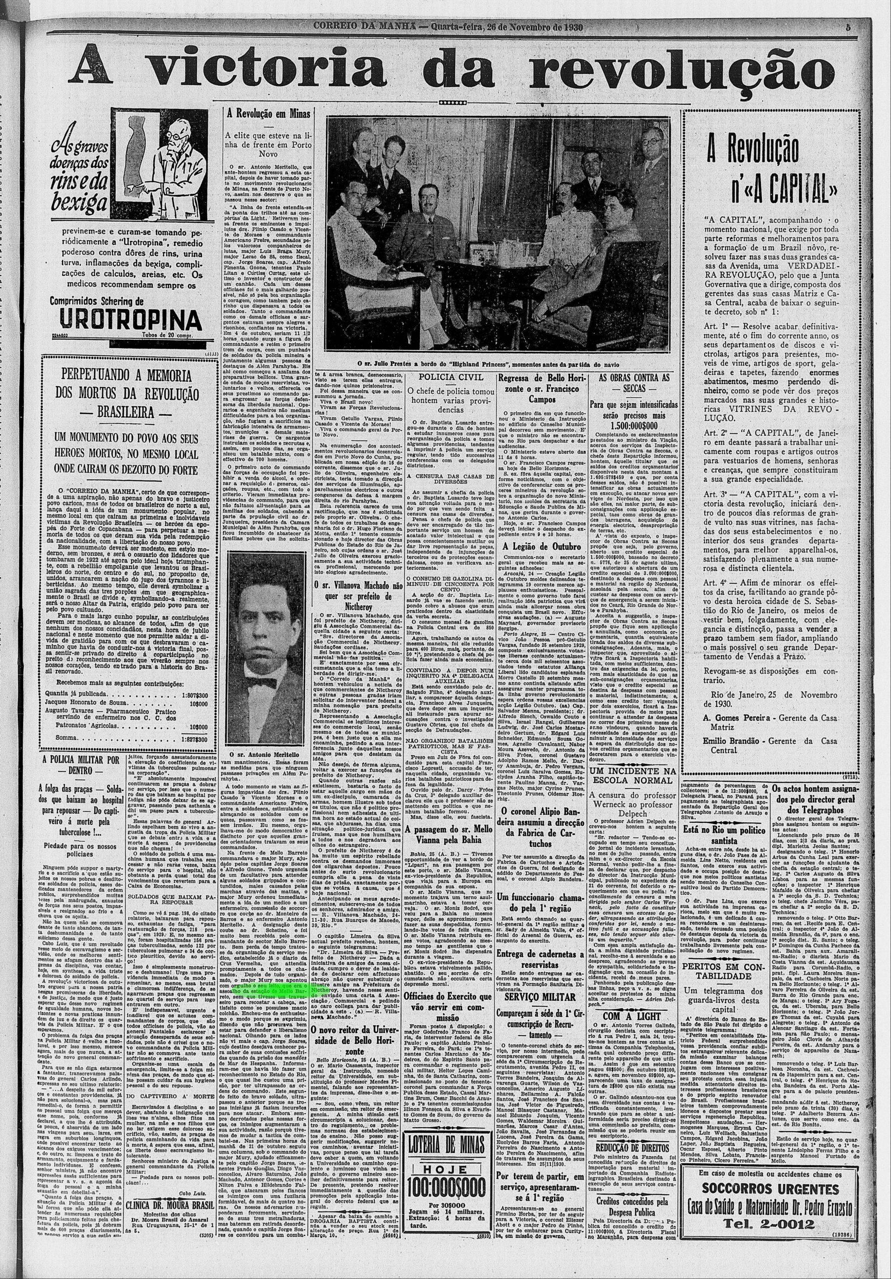 A imprensa comemora a revolução. Acervo BN
