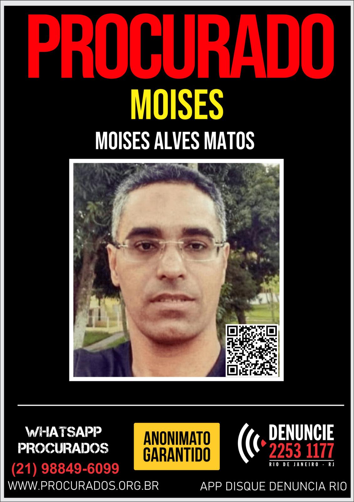 O Portal dos Procurados divulga nesta segunda-feira (30), um cartaz para ajudar nas investigações da 137ª DP – Miracema – para que possa obter informações que levem à prisão do ex-tesoureiro da Câmara de Vereadores de Miracema, Moises Alves de Matos, de 44 anos.
