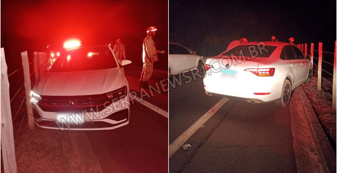 Mulher desmaia na direção e colide contra cerca na RJ-116 em Aperibé