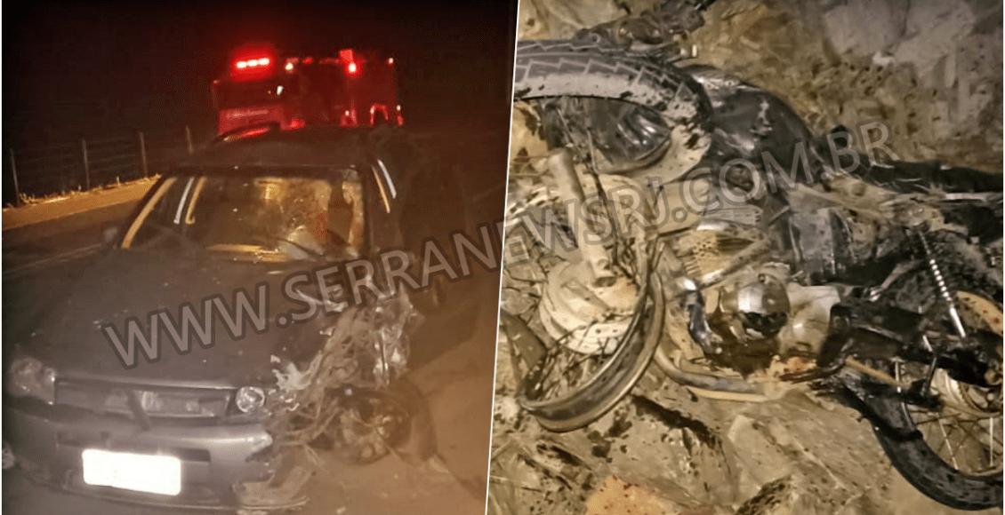 Colisão entre carro e moto deixa uma pessoa morta na RJ-186, em Pádua