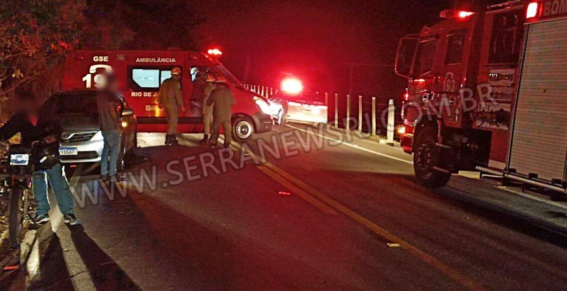 Casal sofre escoriações após acidente de moto na RJ-116, em Aperibé