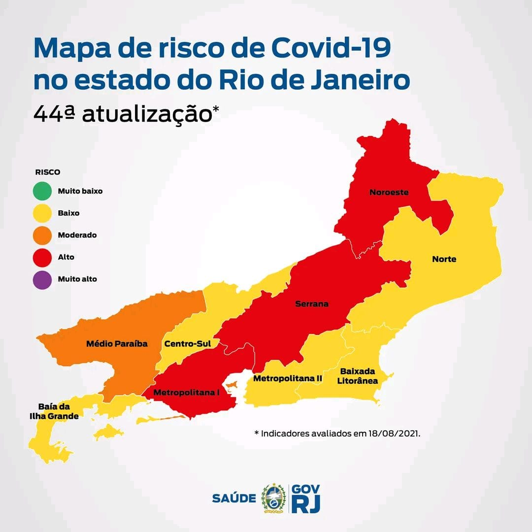 Todas as cidades da Região Serrana do RJ com alto risco de contágio da Covid
