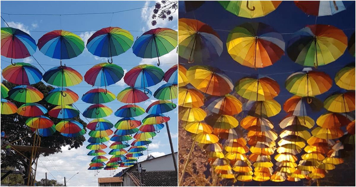 Guarda-chuvas coloridos começam a dar vida ao Retiro dos Sonhos, em Cordeiro