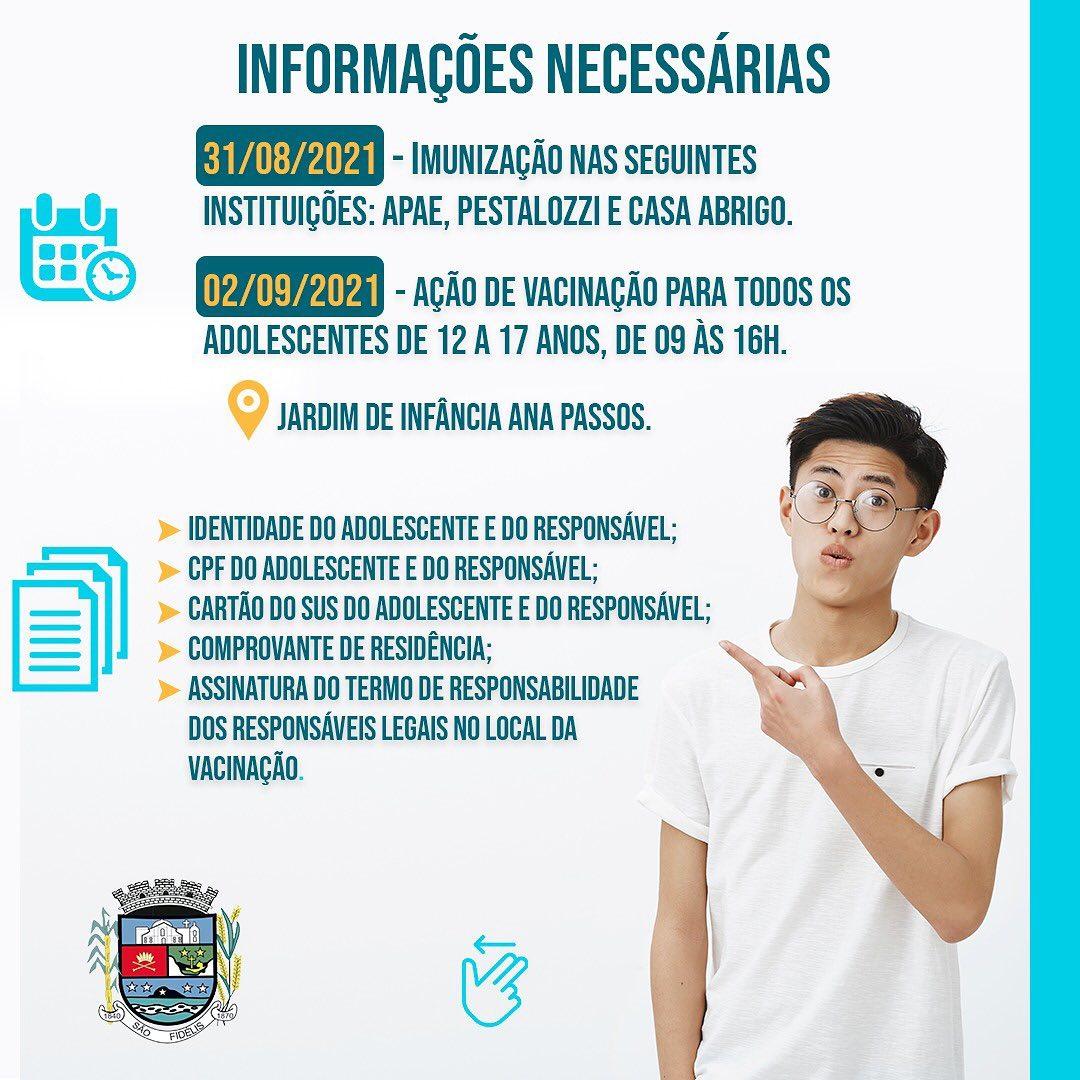 São Fidélis anuncia imunização de todos os adolescentes de 12 a 17 anos