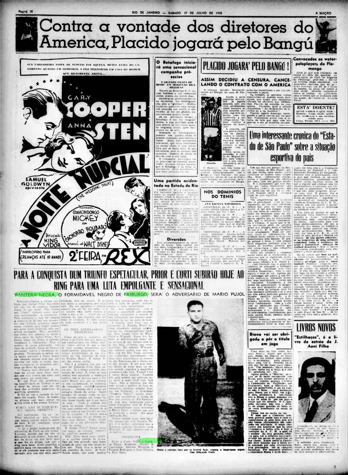 Pantera Negra, o formidável negro de Friburgo, jornal A Nação. Acervo BN