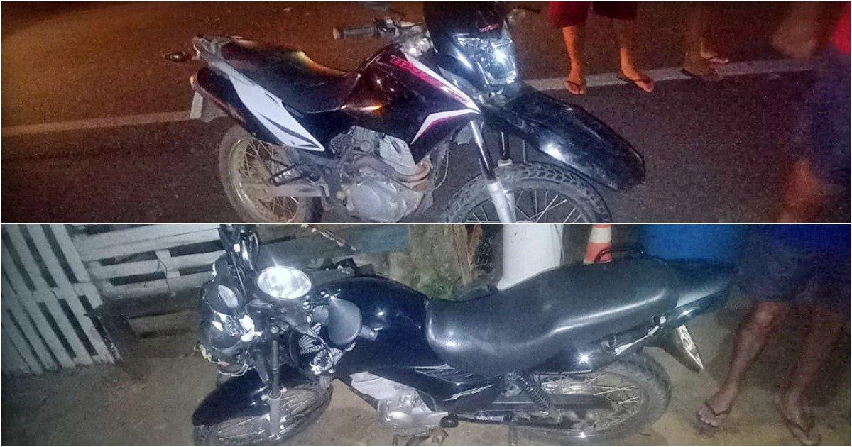 Carro atinge duas motocicletas e foge na RJ-116, em Aperibé