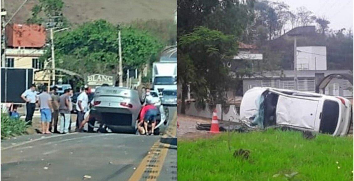 Capotagens de carros deixa um morto em Santo Antônio de Pádua