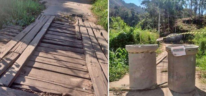Ponte de madeira localizada na Parada Folly, em Amparo, totalmente interditada.