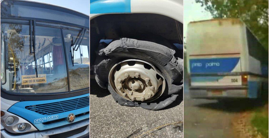 Pneu de ônibus estoura e assusta passageiros em Cantagalo
