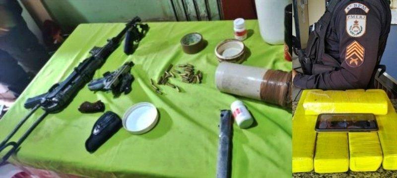 São Fidélis: Armas, submetralhadora e homem preso com 5 Kg de maconha