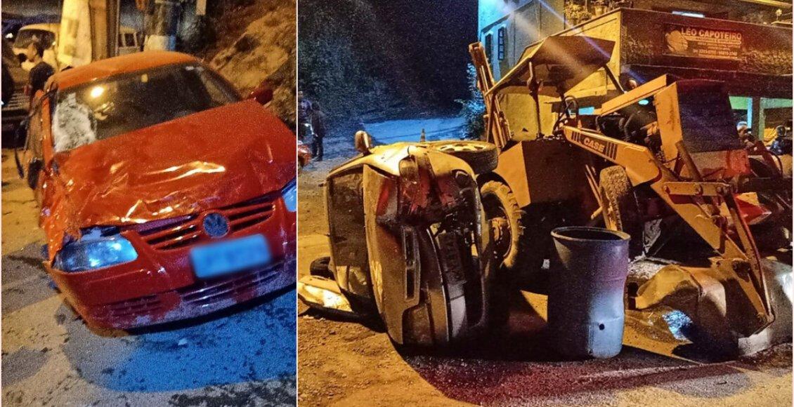 Mãe e filha ficam feridas após trator desgovernado atingir três carros em Petrópolis