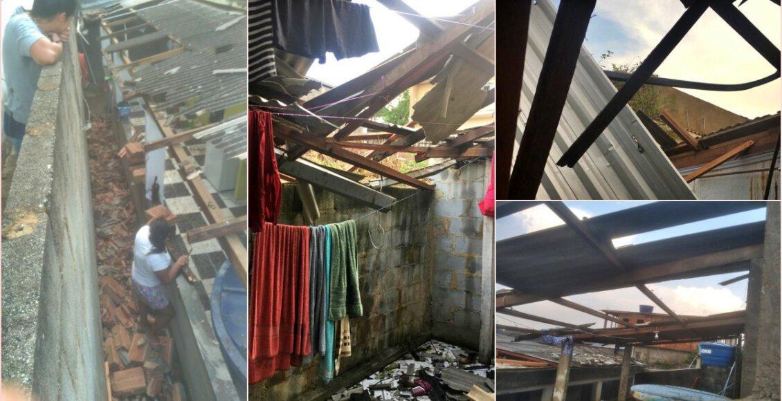 Ventania destelha casas e provoca prejuízo para moradores de Monnerat