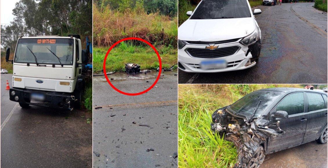 Grave acidente envolve três veículos na Aldeia (RJ-160), em Cantagalo
