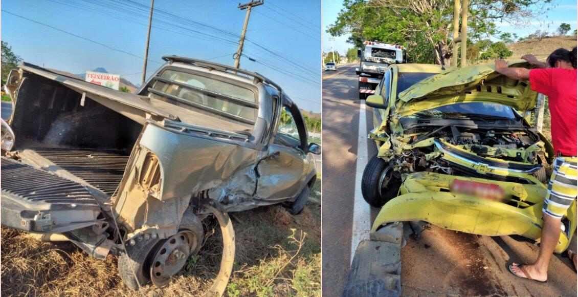 Colisão entre táxi e caminhonete deixa cinco feridos na RJ-116, em Aperibé