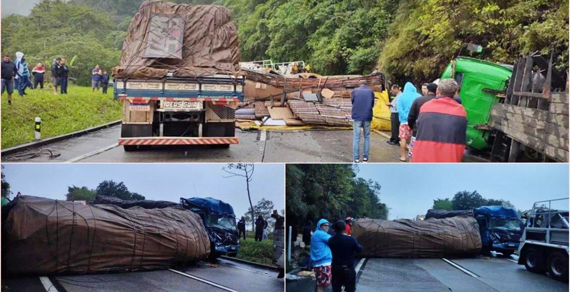 Carretas colidem na BR-040, em grave acidente na Serra de Petrópolis