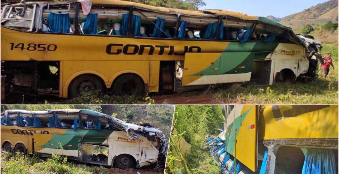 Ônibus com 52 passageiros capota na BR-116 e deixa mortos em Leopoldina